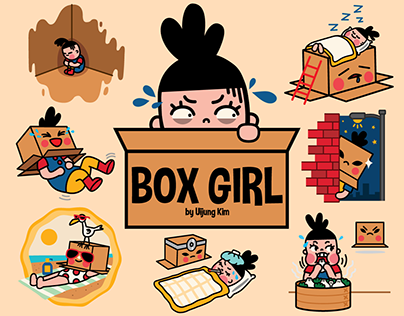 Box Girl Facebook Sticker Set