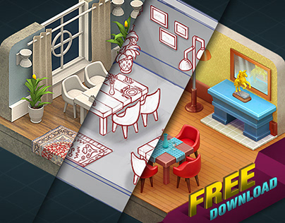 How to Make Isometric 3D Sprites - Homescapes Room