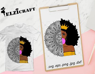 Afro Woman, Mandala, Zentangle SVG Cut File