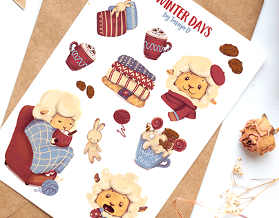 WINTER DAYS - STICKERS AND CARD