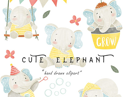 Watercolor Baby Elephant Clipart PNG Boy Girl Download