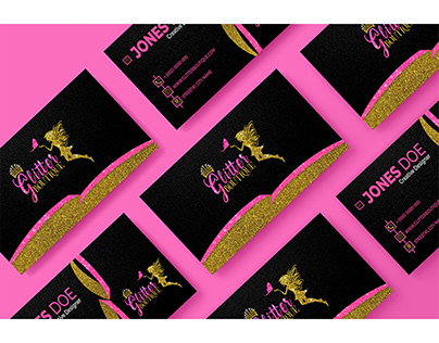 Luxury and Glittery Business & Thank you Card Design