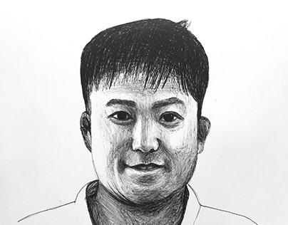 Retrato con birome (Sensei Miyake)