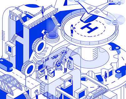 Hyundai Future Tech Isometric Illustration