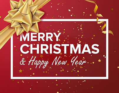 Merry Christmas And Happy New Year Text Vector
