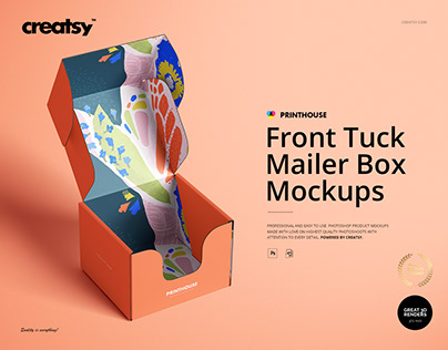 Front Tuck Mailer Box Mockup Set 01
