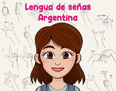 Ilustraciones didácticas de lengua de señas Argentina.
