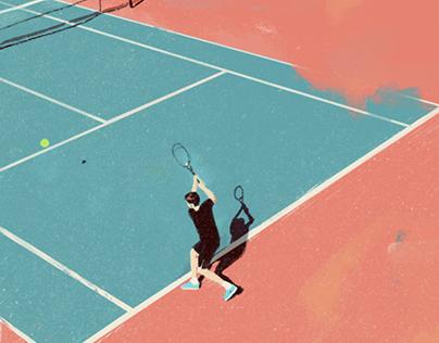 young man played tennis.