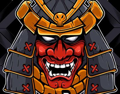 Japanese Samurai Oni mask Warrior | tees Design