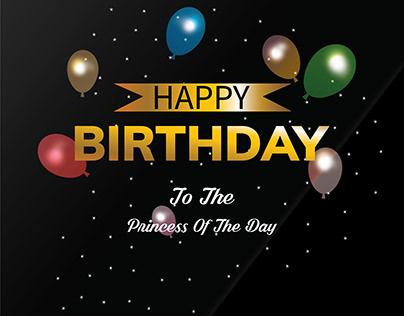 Happy Birthday Greeting Card Black Background