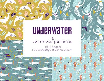 Underwater - seamless patterns set