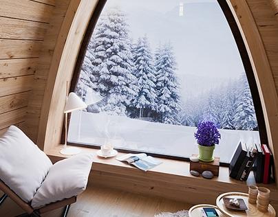 Cabin interior in winter time