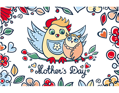 Mother's Day. Patterns. Postcards.