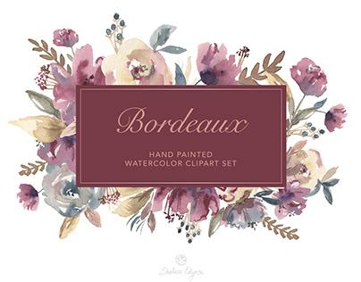 Bordeaux Watercolor Floral Clipart Set
