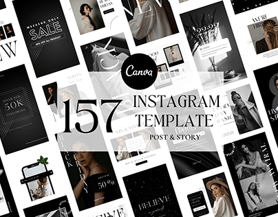 Black And White Instagram Templates Post & Story