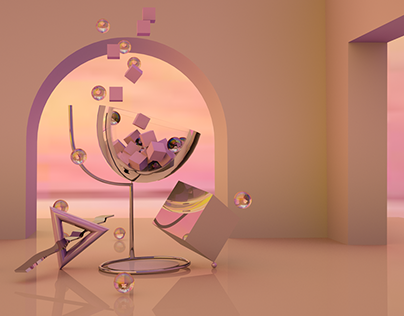 Abstract glass of wine / 3D