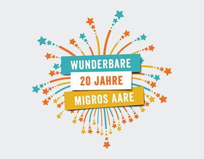 Migros Aare 20 Jahre Logo & Campaign