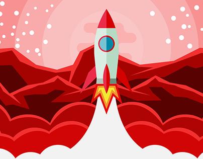 Rocket Ship and Planet Flat Design