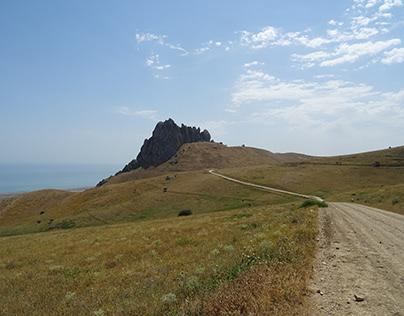 Along the Caspian shore of Azerbaijan