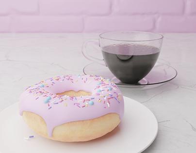 3D scene model | Donut | Coffee