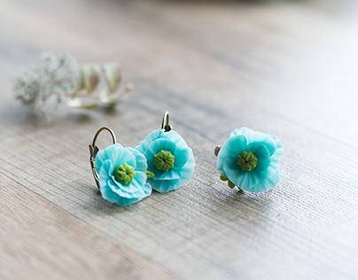 Aqua blue poppy jewelry