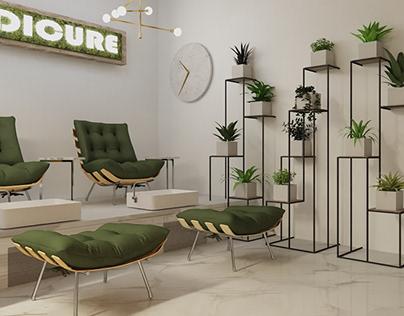 Nowoczesny salon kosmetyczny w stylu Urban Jungle
