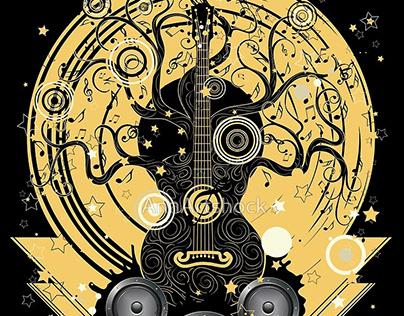 Guitar tree retro music design