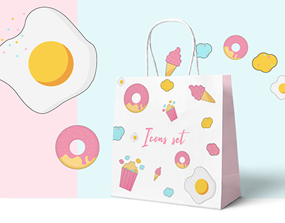 Illustration sweet food, donut, ice cream, pop corn