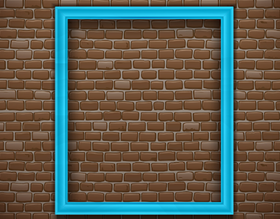 blue empty picture frame brick wall background