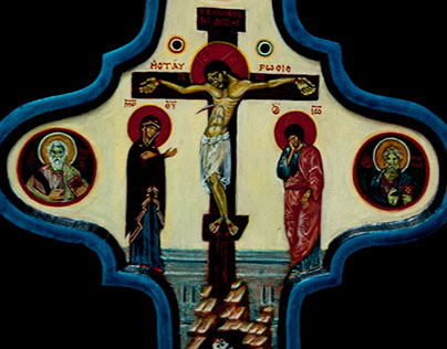 The crucifixion with evangelists. The Dominican cross