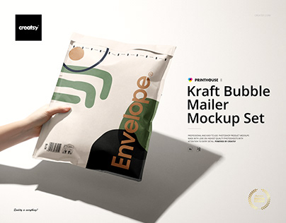 Kraft Bubble Mailer Mockup Set