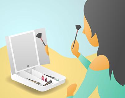 Makeup mirror product illustration