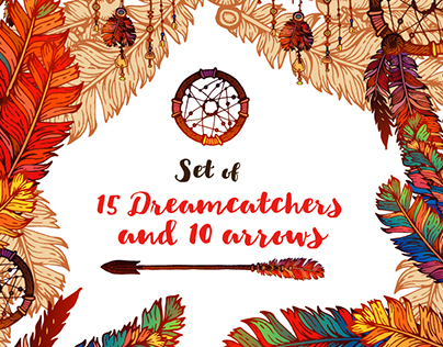 Set of 15 Dreamcatchers and 10 Arrows