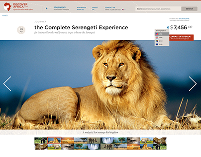 Packaged tours website for Discovery Africa