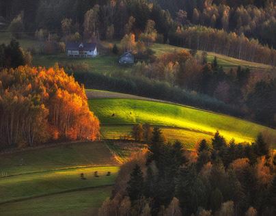 In the autumn light. Beskidy. Poland