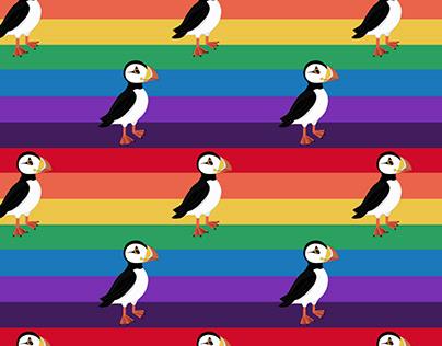 Puffin rainbow seamless design