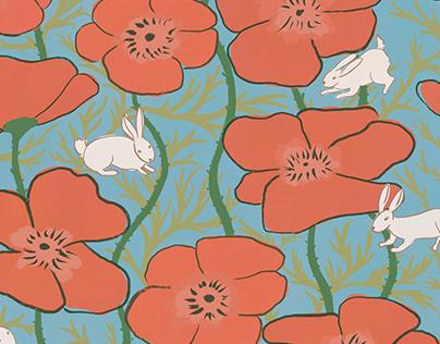 Poppies & Bunnies Pattern