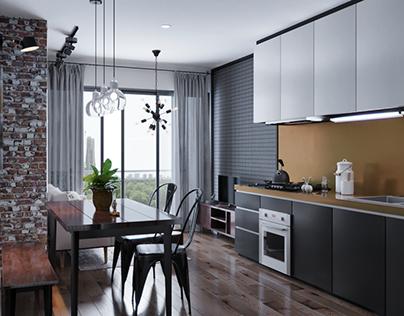 Small Apartment | Industrial Interior Design