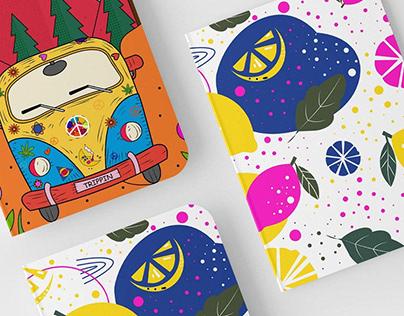 Illustrations for notebook set