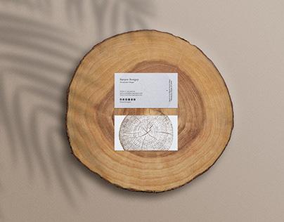 business card mockup on wood slice