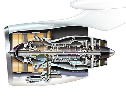 Aviation technical cutaway illustrations.