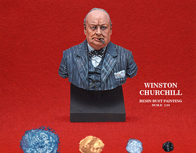WinstonChurchill Resin bust painting infographics.