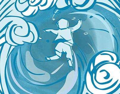 Water themed shirt artwork