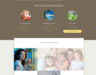 Landing page for a psychotherapist