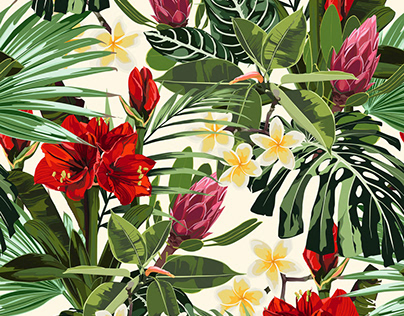 pattern with tropical leaves and paradise red lilies