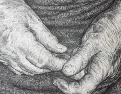 Elements. Grandmother's hands