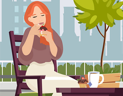 """Vector illustrations """"When to eat sugary foods?"""""""
