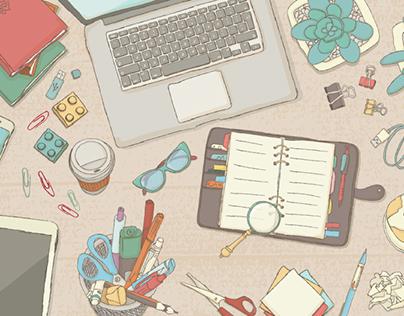 Illustrated desk scenes