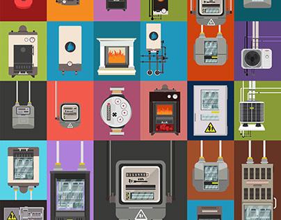 Electric meter,gas meter,gas tank,gas boiler,fireplace,