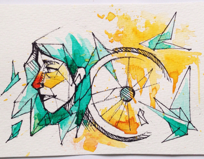 Geometric watercolours